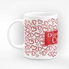 """Чаша """"Обичам те!"""" с много сърца - подарък за Свети Валентин"""