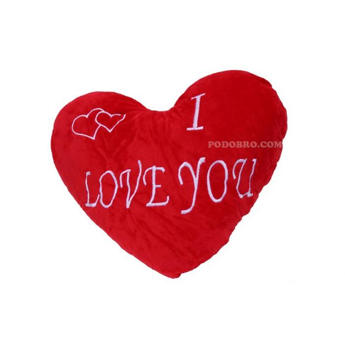 """Възглавничка във формата на сърце с надпис – """" I Love you """" – подарък за Свети Валентин"""